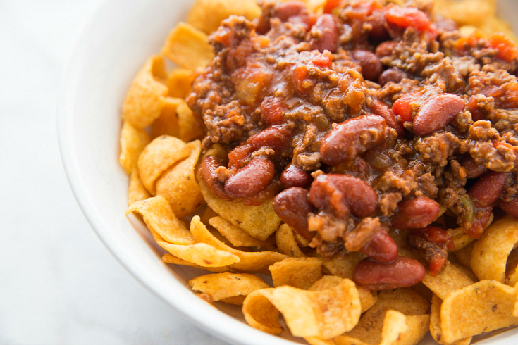 Crockpot Frito Pie - Frito pie served in a bowl