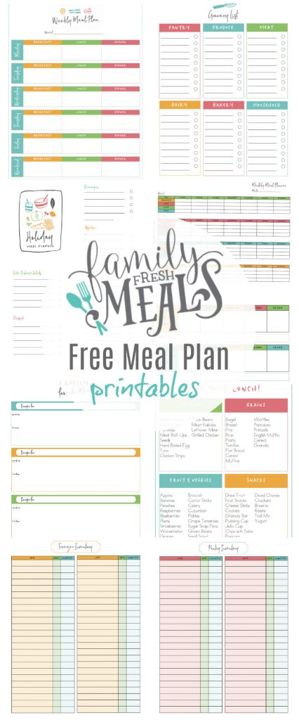 Email Newsletter And Free Meal Plan Printables  Family Fresh Meals