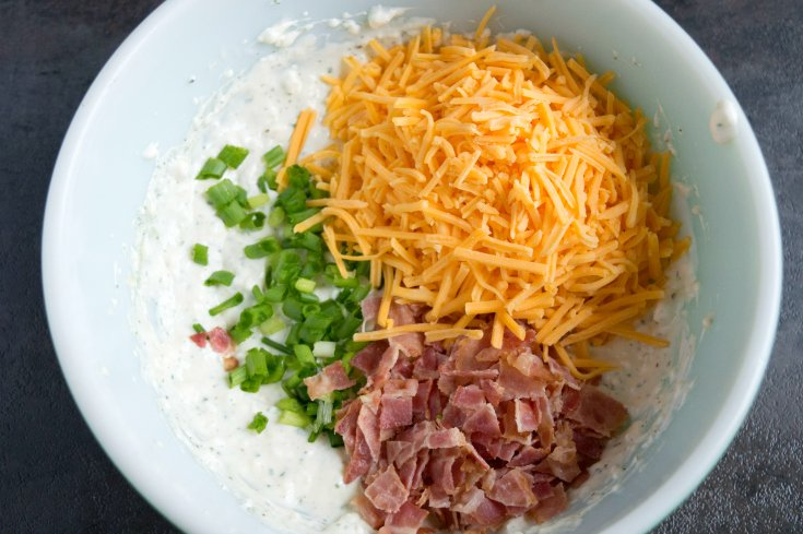 Loaded Crack Dip - Bacon, cheese and green onions in mixture