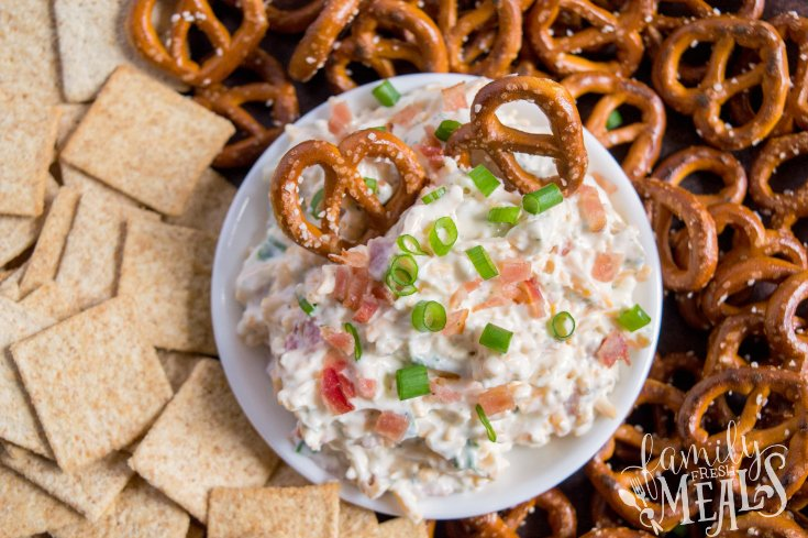 Loaded Crack Dip - Served in a bowl with pretzels and crackers - Family Fresh Meals