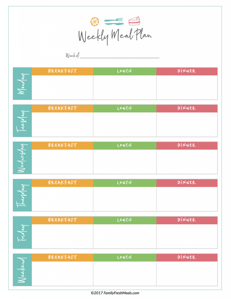 picture relating to Weekly Menu Planner Printable identify No cost Dinner System Printables - Relatives Clean Foodstuff