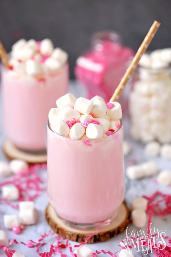 Valentine's Pink Hot Cocoa with Free DIY Gift Tags - Family Fresh Meals