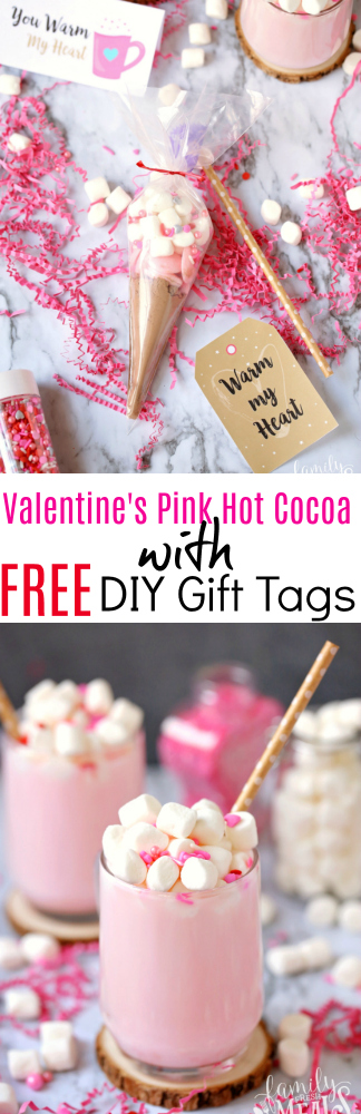 Valentine's Pink Hot Cocoa with Free DIY Gift Tags - Hot Cocoa DIY gift and tags - Pink Hot Cocoa Topped with Marshmallows - Family Fresh Meals