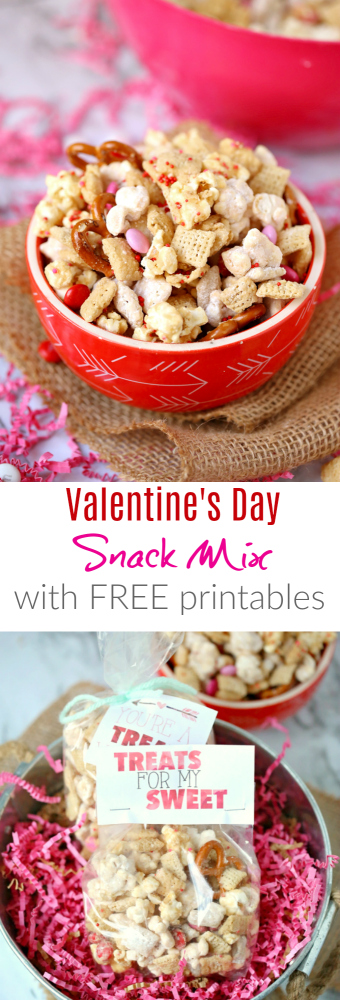 Valentine's Snack Mix Free Printables -- Family Fresh Meals Free Valentine's Day Treat with Printables
