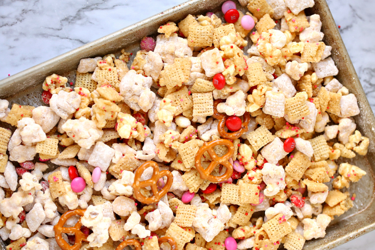 Valentine's Snack Mix with Free Printables - snack mix drying on a baking sheet