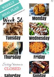 Easy Weekly Meal Plan Week 56