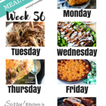 Easy Weekly Meal Plan Week 56