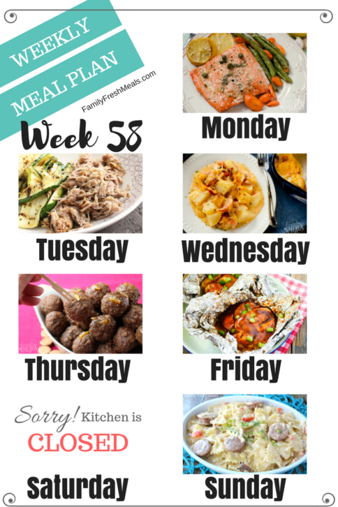 Easy Weekly Meal Plan Week 58 - Family Fresh Meals