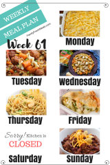Easy Weekly Meal Plan Week 61