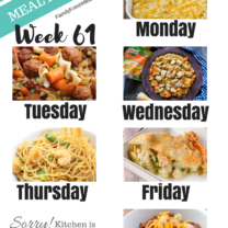 Easy Weekly Meal Plan Week 61