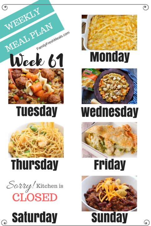 Easy Weekly Meal Plan Week 61- Family Fresh Meals