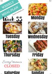 Easy Weekly Meal Plan Week 55