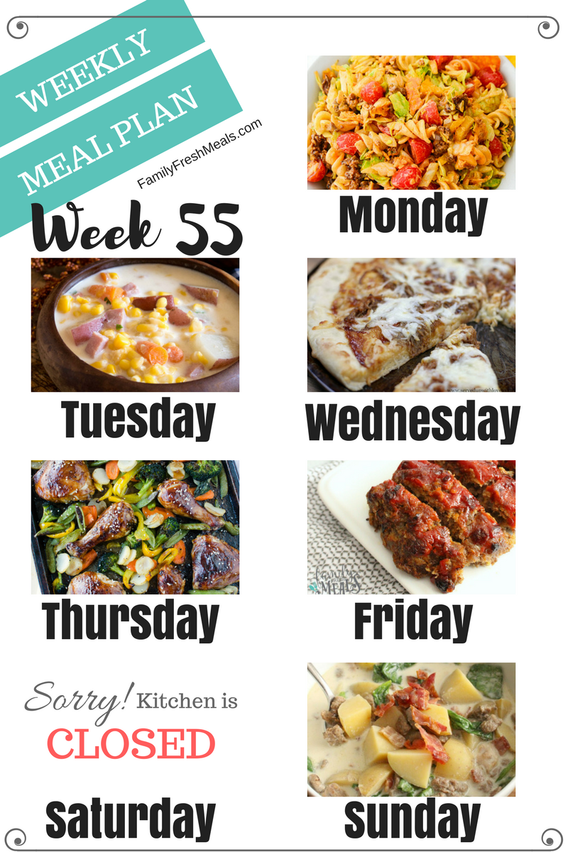 Easy Weekly Meal Plan Week 55 Family Fresh Meals