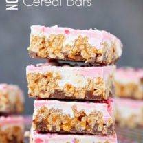 No Bake Chocolate Caramel Cereal Bars