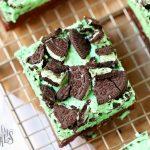 Mint Chocolate Brownies - Brownies on cooling rack