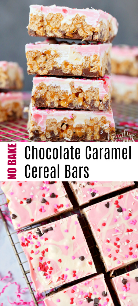 No Bake Chocolate Caramel Cereal Bars -- family fresh meals