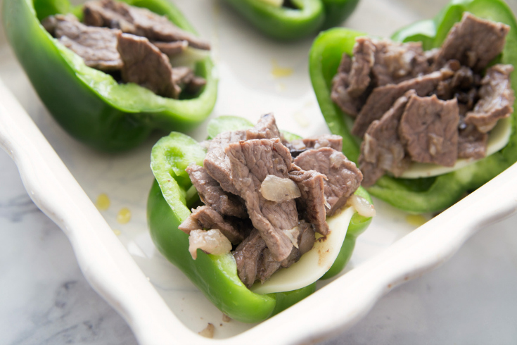 Philly Cheese Steak Stuffed Peppers - Family Fresh Meals- Bell peppers stuffed with cheese and beef