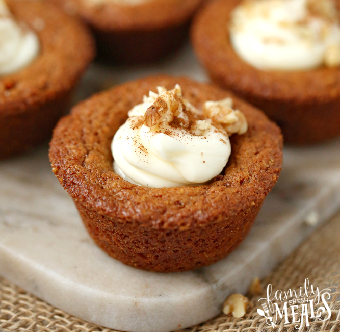 Carrot Cake Cookie Cups - carrot cake cups on a white marble plate