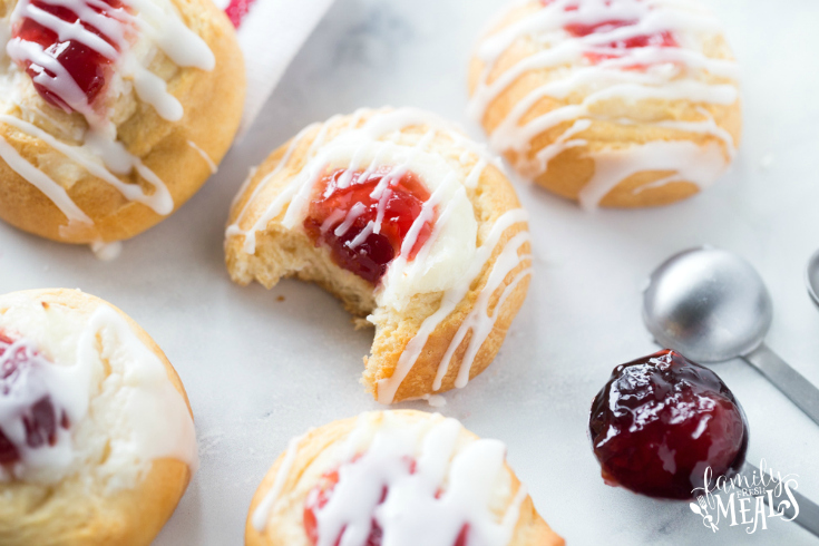 Cherry Cream Cheese Danish - Family Fresh Meals - Danish with bite taken out of it