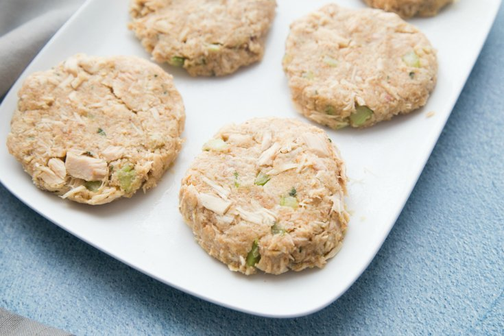 Easy Tuna Patties - tuna patties formed and sitting on a white plate