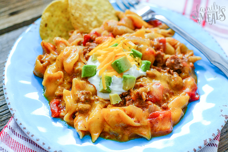 Instant Pot Taco Pasta - served on a blue plate