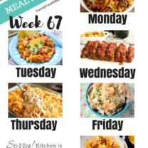 Easy Weekly Meal Plan Week 67