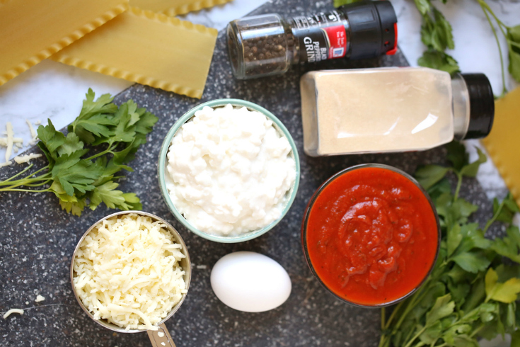 Cheesy Lasagna Rolls - Ingredients measured out
