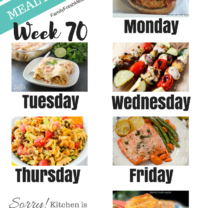 Easy Weekly Meal Plan Week 70