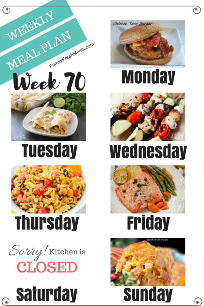 Easy Weekly Meal Plan Week 70 - Family Fresh Meals