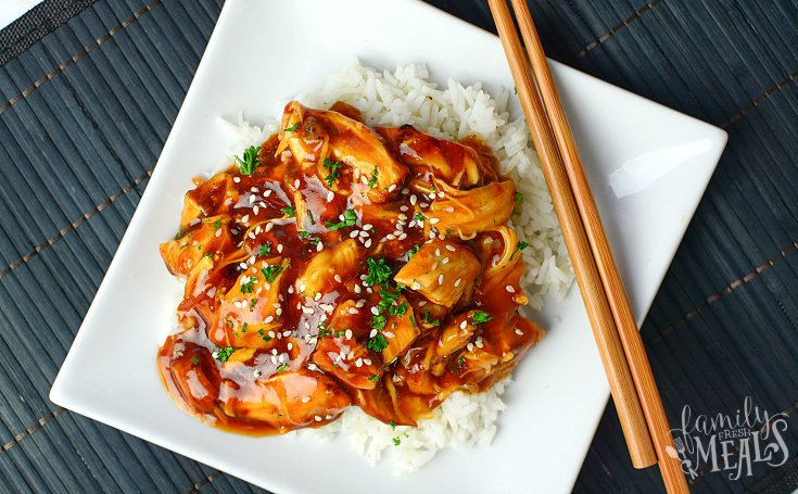 Instant Pot Honey Garlic Chicken - Recipe served on a white square plate
