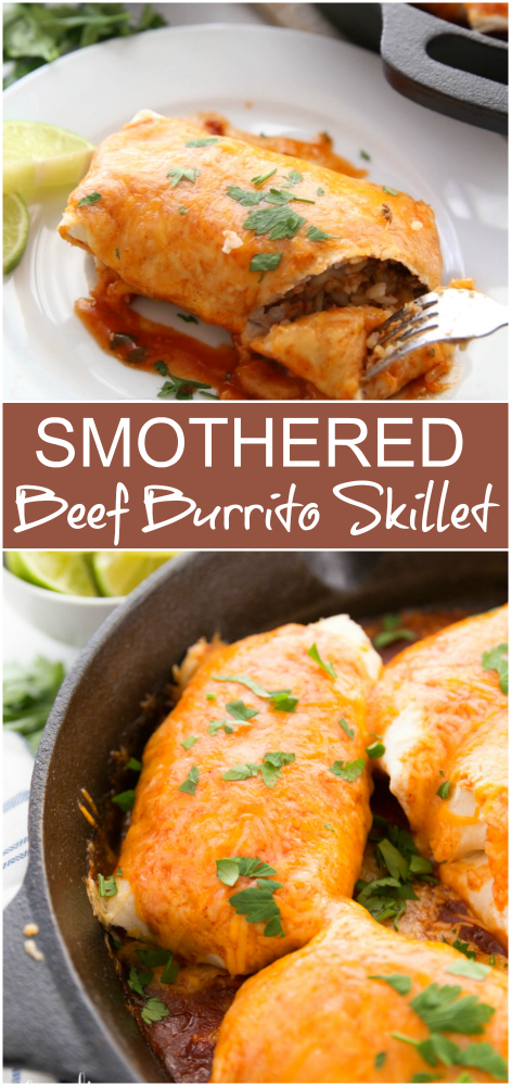 One Pan Smothered Beef Burrito Skillet -- Family Fresh Meals Recipe