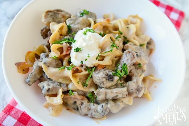 Beef Stroganoff Casserole - Serve in a white dish