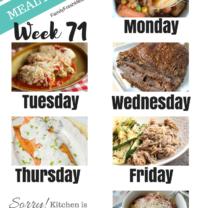 Easy Weekly Meal Plan Week 71