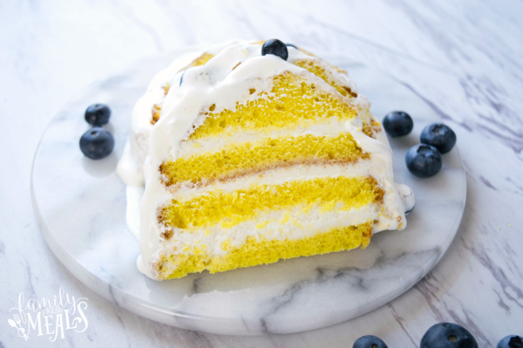 Easy Lemon Ice Cream Cake - Sliced ice cream cake on a white marble plate