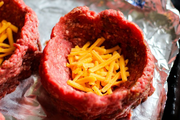 Fully Loaded Burger Bowls - Uncooked ground beef cup filled with cheese