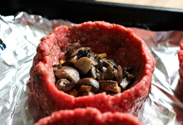 Fully Loaded Burger Bowls - Uncooked ground beef cup filled with mushrooms