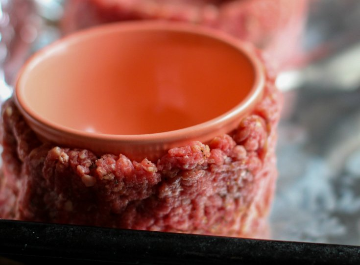 Fully Loaded Burger Bowls - bowl pushed into center of ground beef, forming a bowl