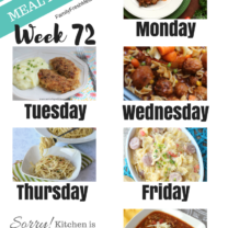 Easy Weekly Meal Plan Week 72