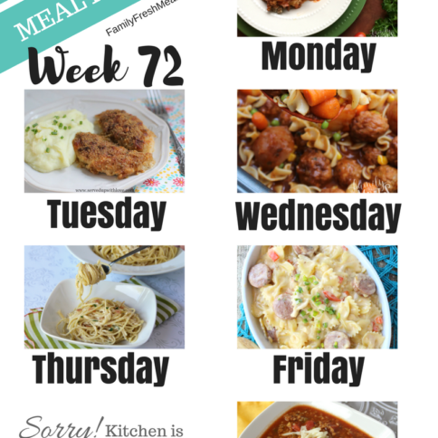 Easy Weekly Meal Plan Week 72 - Family Fresh Meals