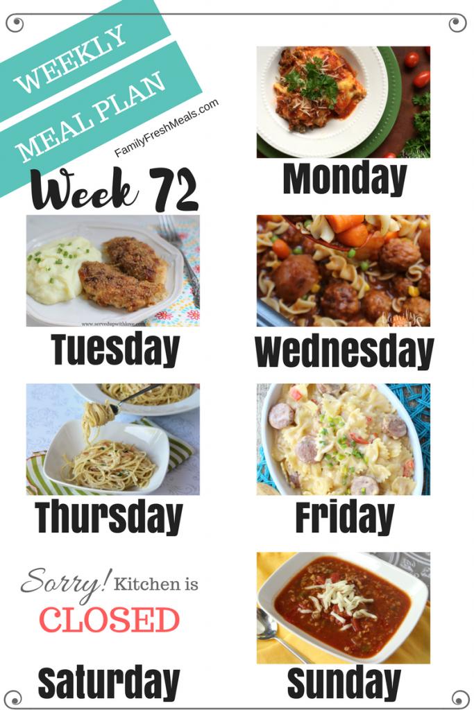 Easy Weekly Meal Plan Week 72 - Family Fresh Meals