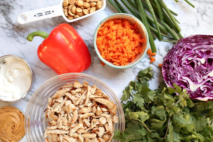 Creamy Thai Chicken Salad - Bell pepper, peanuts, onions, red cabbage, diced chicken, cilantro, peanut butter, carrots, mayo