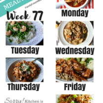 Easy Weekly Meal Plan Week 77