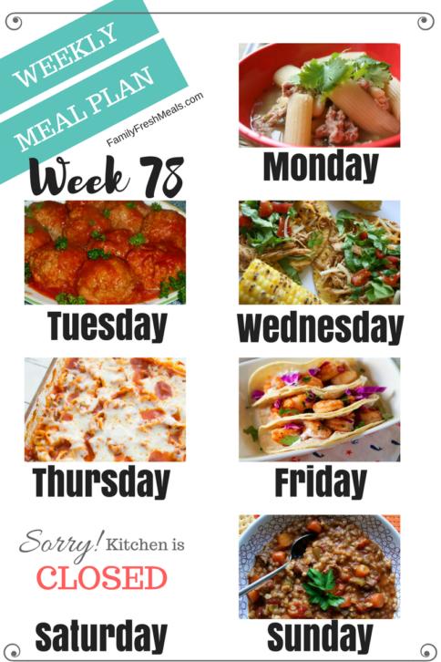 Easy Weekly Meal Plan Week 78
