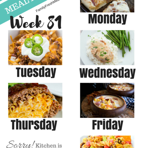 Easy Weekly Meal Plan Week 82