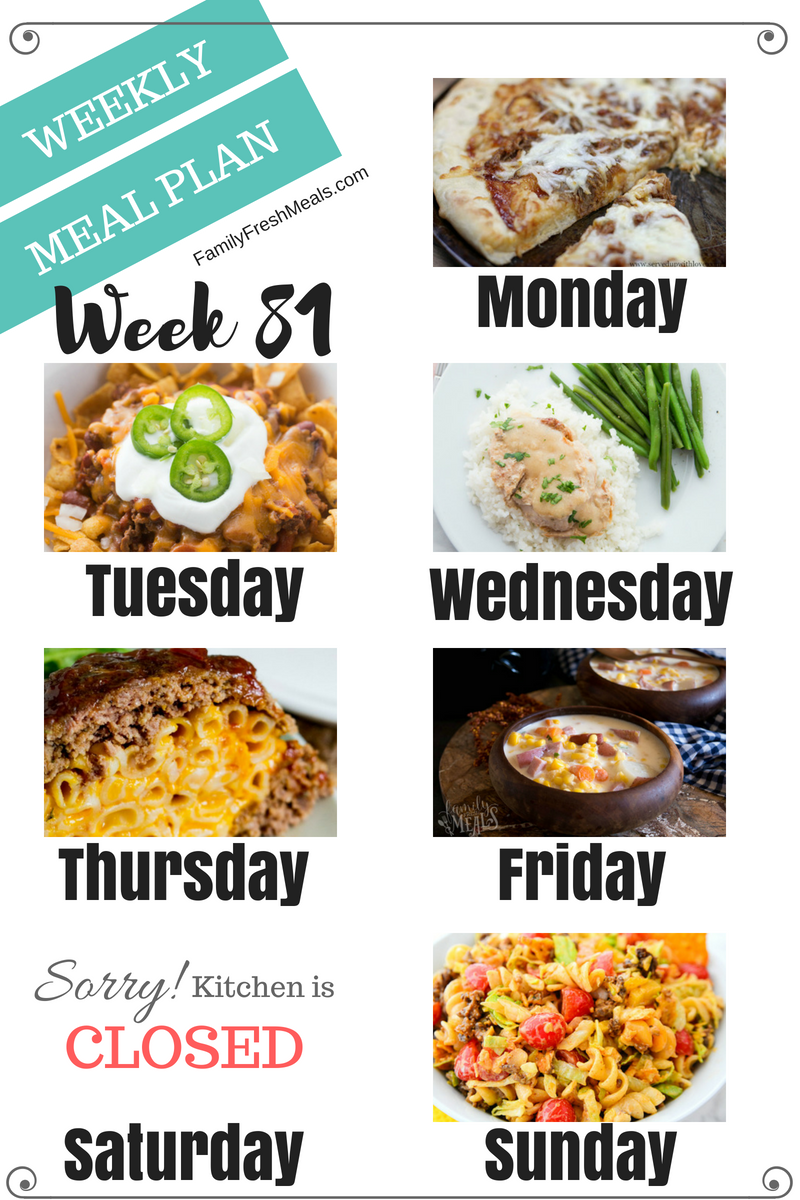 Easy Weekly Meal Plan Week 81