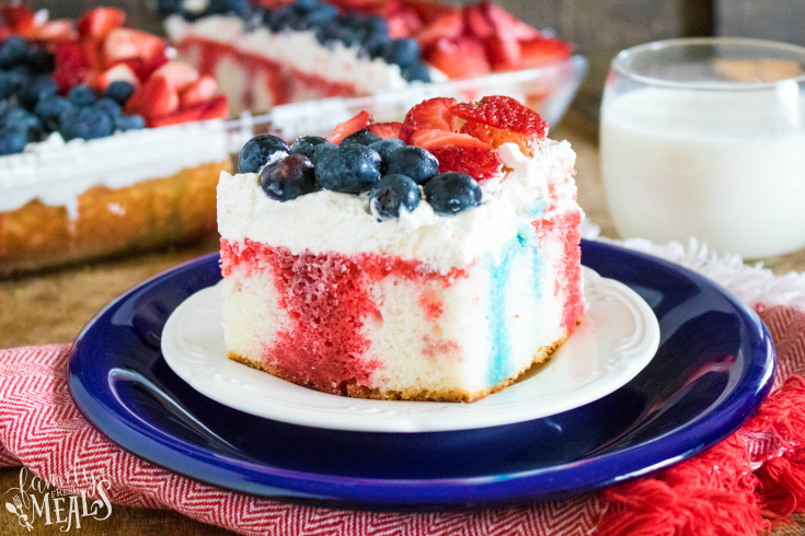 Red White and Blue Poke Cake - A slice of cake on a blue plate