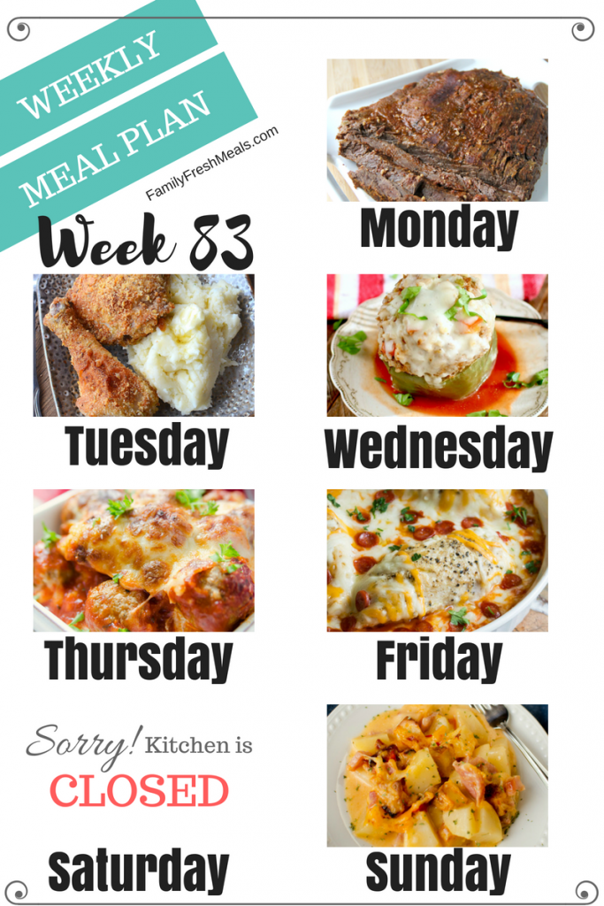 Easy Weekly Meal Plan Week 83 - Family Fresh Meals