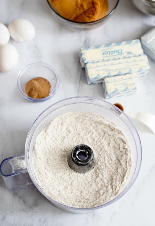 Creamy Pumpkin Pie Bars - Dry ingredients in a food processor