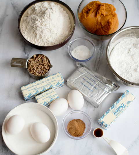 Creamy Pumpkin Pie Bars - Ingredients on a counter