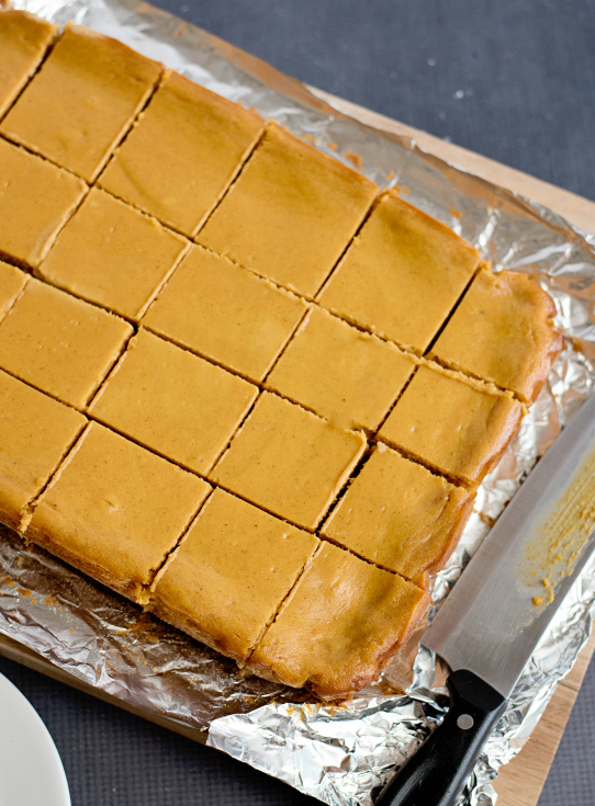 Creamy Pumpkin Pie Bars - baked and cut into squares